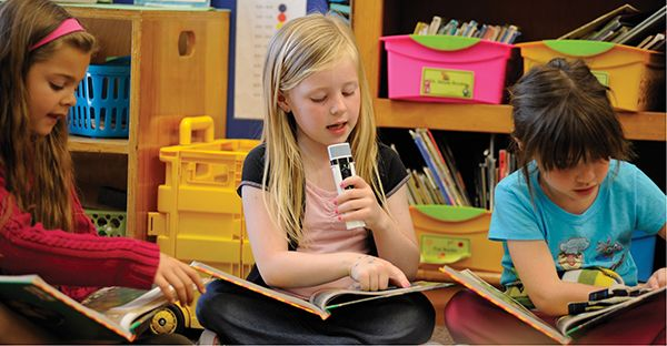 Girl reading with mic